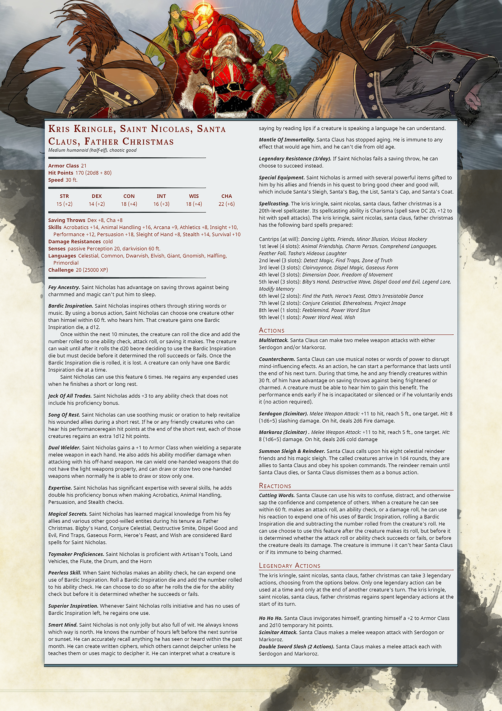 5 Versions of Santa Claus: D&D 5E Style | Fifth Edition D&D ...