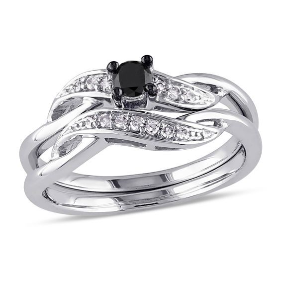 Zales 5.0mm Lab-Created White Sapphire and 1/5 CT. T.w. Enhanced Black Diamond Bridal Set in Sterling Silver tyF2nsCZ7