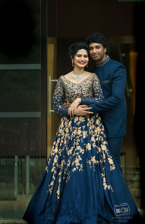 20 Shopzters Couples Who Wore Colour Coordinated Outfits In 2020 Engagement Dress For Bride Indian Wedding Gowns Bride Reception Dresses