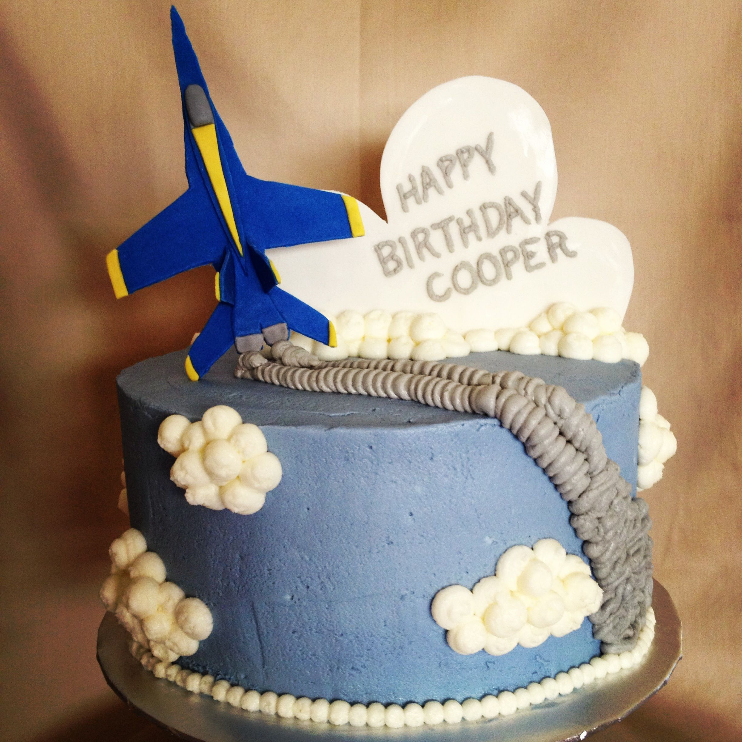 Wondrous Blue Angel Airplane Jet Birthday Cake With Images Airplane Funny Birthday Cards Online Elaedamsfinfo