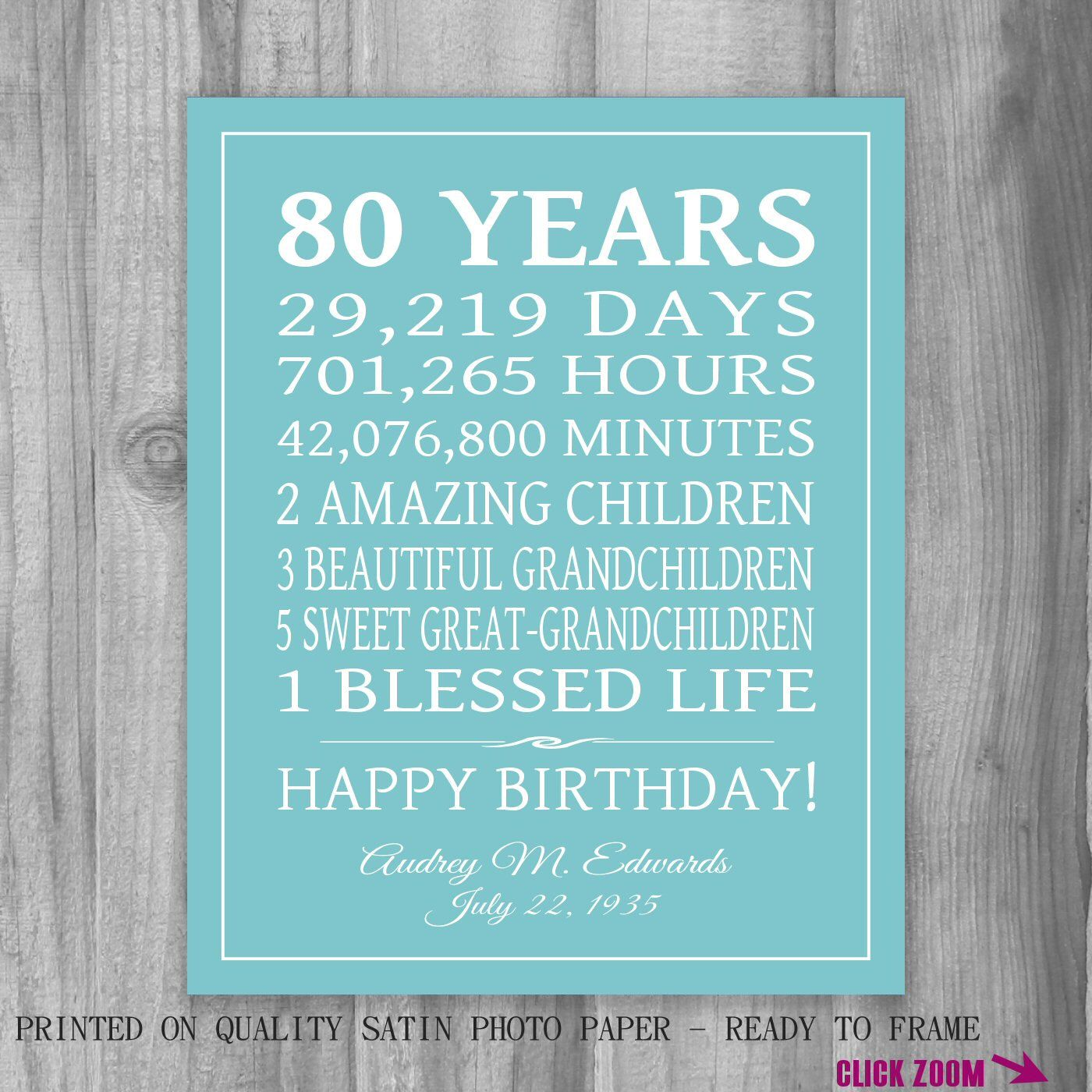 80th birthday borders and frames 80th birthday card - 80th Birthday Gift 80 Years Sign Personalized Gift Art Print Gift For Mom Grandma Gift Print