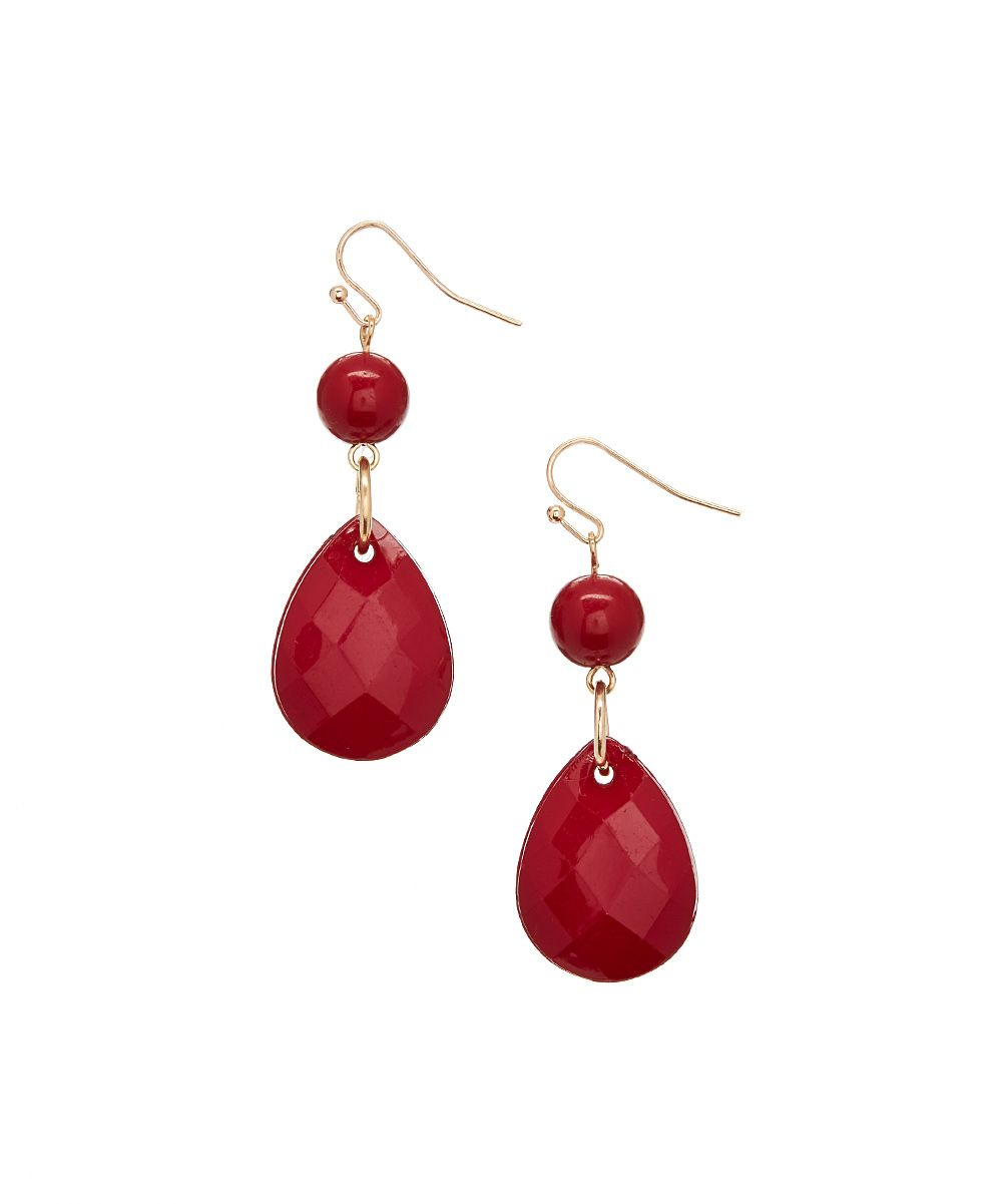 Cranberry & Goldtone Teardrop Earrings
