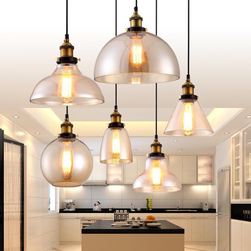 Vintage 5 Light Glass Shade Kitchen Chandelier For Bedroom