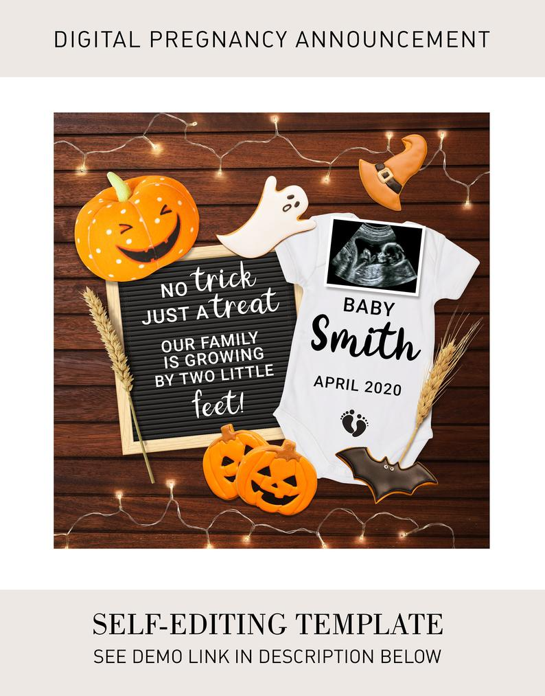 Fall Pregnancy Reveal Little Pumpkin Editable Pregnancy Announcement Thanksgiving Digital Baby Announcement for Social Media You Edit