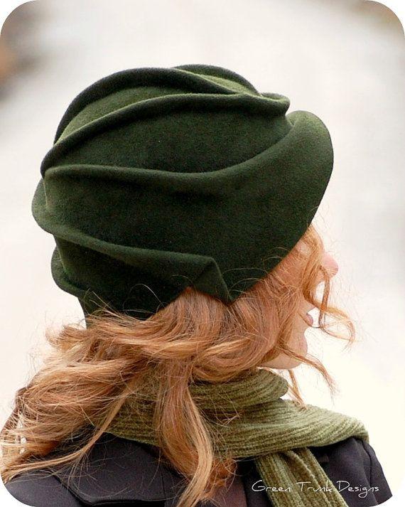 2b581097f130b Sculpted Green Fur Felt Cloche Hat by GreenTrunkDesigns