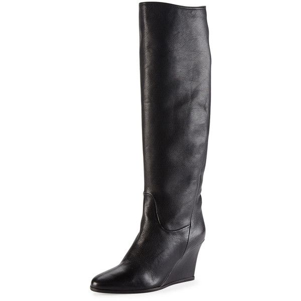 sale cheapest price Lanvin Leather Wedge Knee-High Boots discount how much k9i0NVbnD
