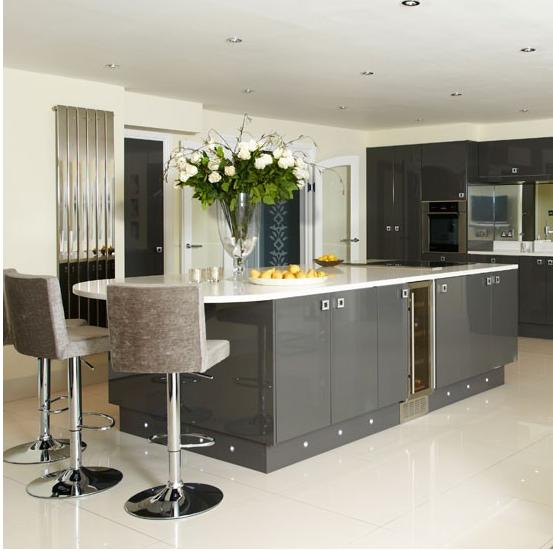 Hi Gloss Dark Grey Kitchen With Swarovski Crystal Handles