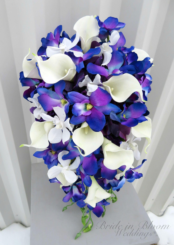 Blue orchid cascade Bouquet, Wedding bouquet brides
