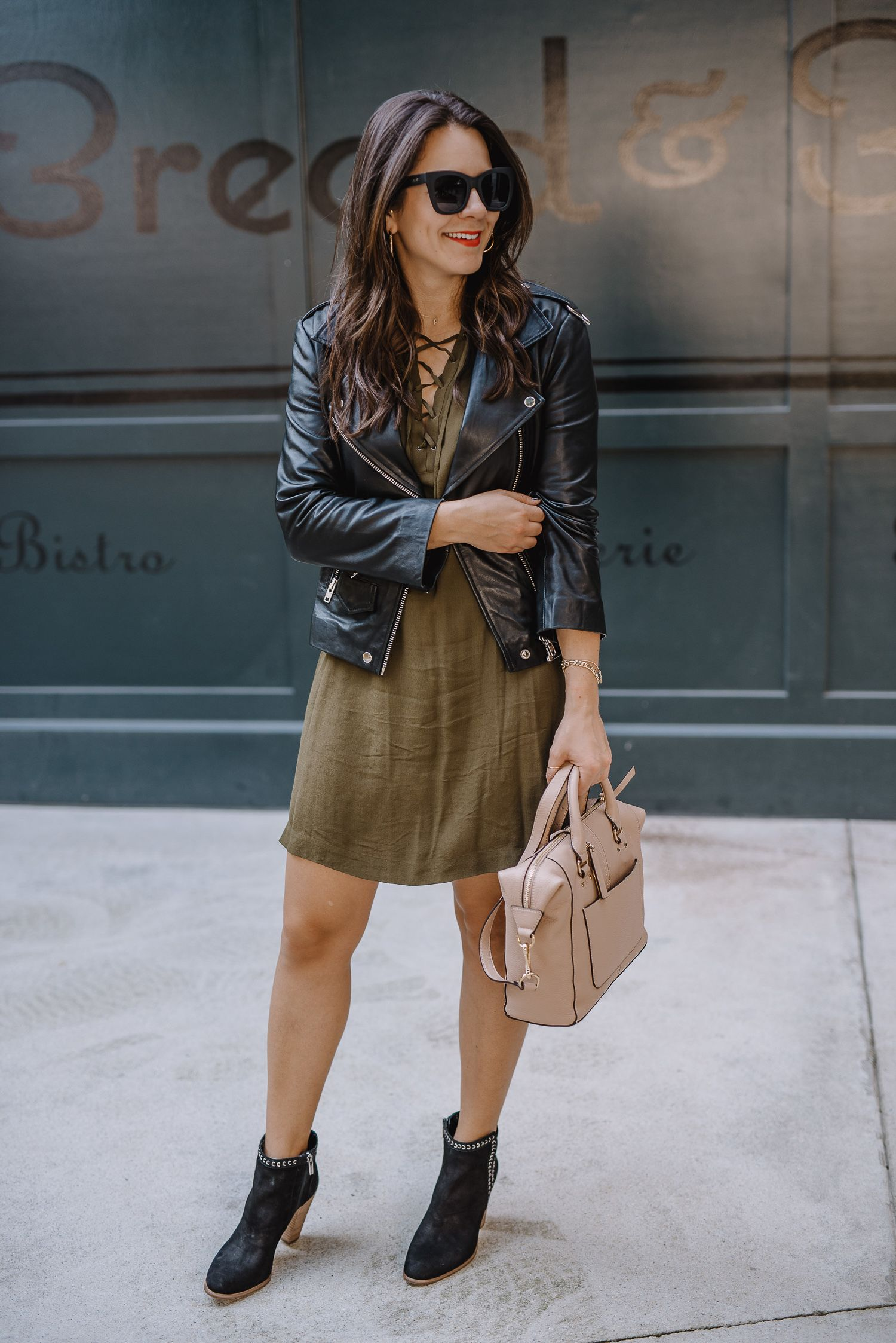 Olive Green Lace Up Mini Dress Black Ankle Heeled Boots Black Moto Leather Jacket Taup Casual Leather Jacket Outfit Leather Jacket Outfits Leather Jacket Dress [ 2247 x 1500 Pixel ]