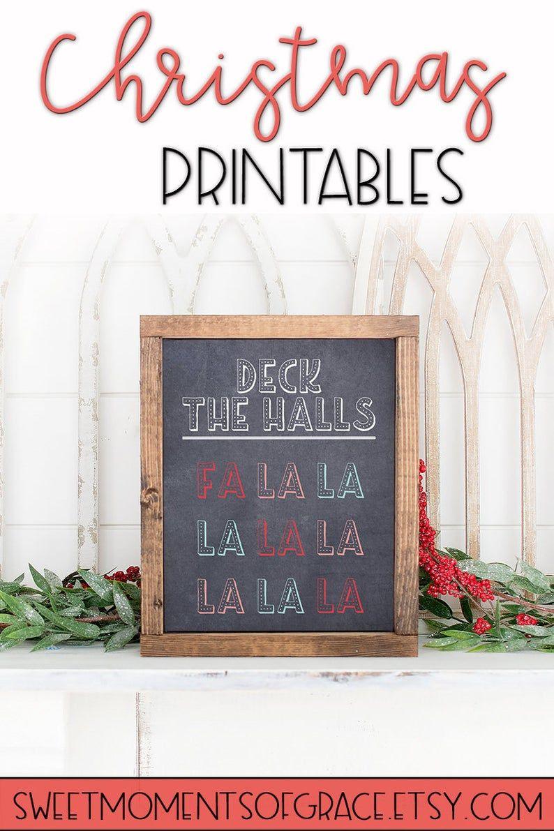 Deck The Halls Fa La La Christmas Song Chalkboard Style Etsy In 2020 Affordable Christmas Decorations Christmas Chalkboard Rustic Christmas Ornaments