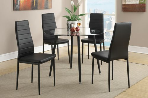 5 pc poundex black retro glass dining room table set f2203