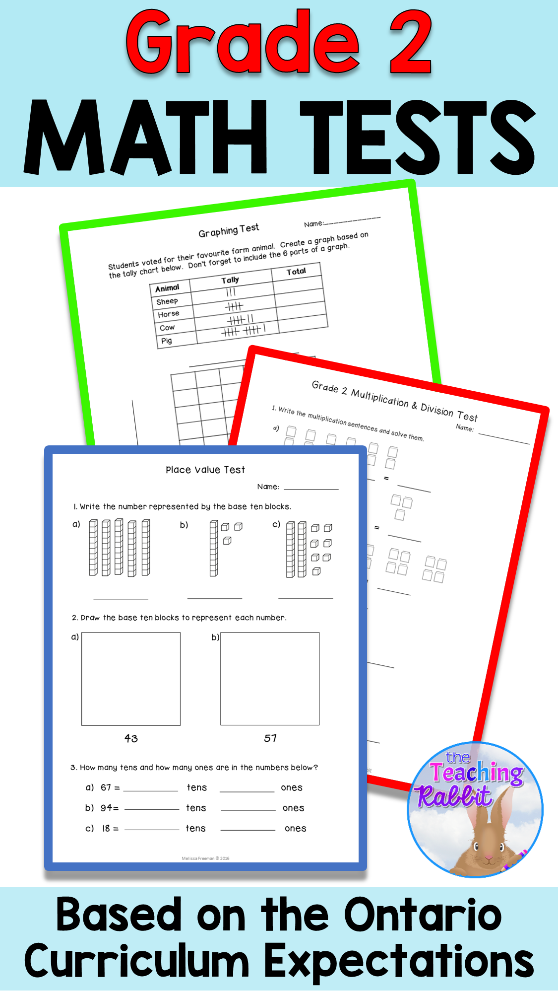 Grade 2 Math Tests Bundle In