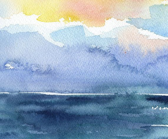 Abstract Watercolor Painting - Colorful Sea - Ocean - Beach ...