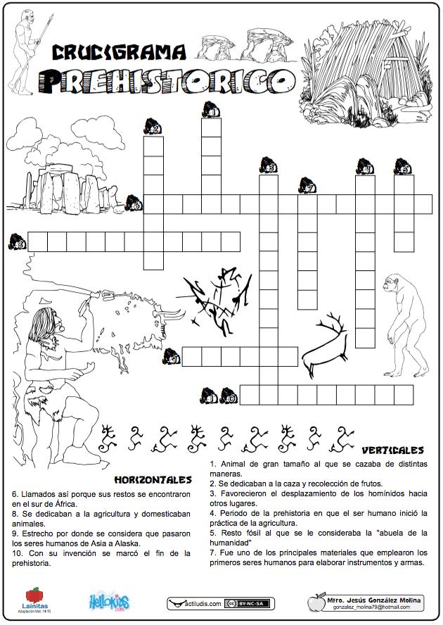 """La ficha """"Crucigrama Prehistórico"""" realizada por Jesús González ..."""