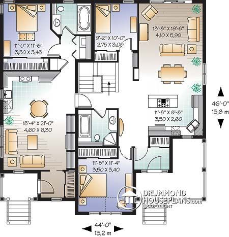 Duplex 1 Floor Plan Family House Plans House Plans Farmhouse Style House Plans