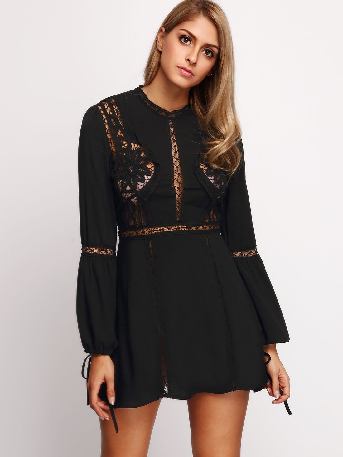 fb59a8a8a137 Online shopping for Crochet Bell Sleeve Dress BLACK from a great selection  of women's fashion clothing & more at MakeMeChic.COM.