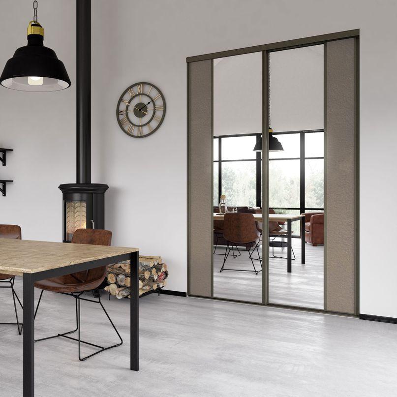 Rousseau 1 Facade De Placard Coulissante 2 Portes Miroir Argent Effet Cuir Vintage Beige Placard Coulissant Porte Placard Deco Entree Maison