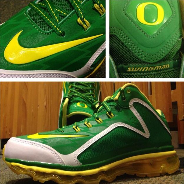 Another round of new Oregon Baseball shoes, specifically the Nike Air Max  Swingman 360 Pregame Oregon Ducks PE. Feather print, Ducks branding, and  green .