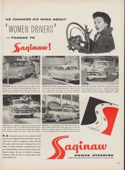 Sexist Ads 1950s | Saginaw Power Steering Sexist Ad, Saginaw