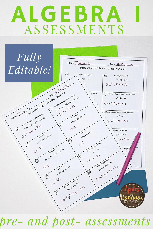 Algebra 1 Editable Assessments Bundle in 2020 Algebra 1