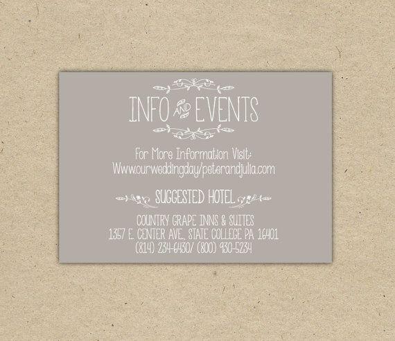 Vintage Wedding Invitation Insert Printable Diy Printed Country Chic Outdoor 1054