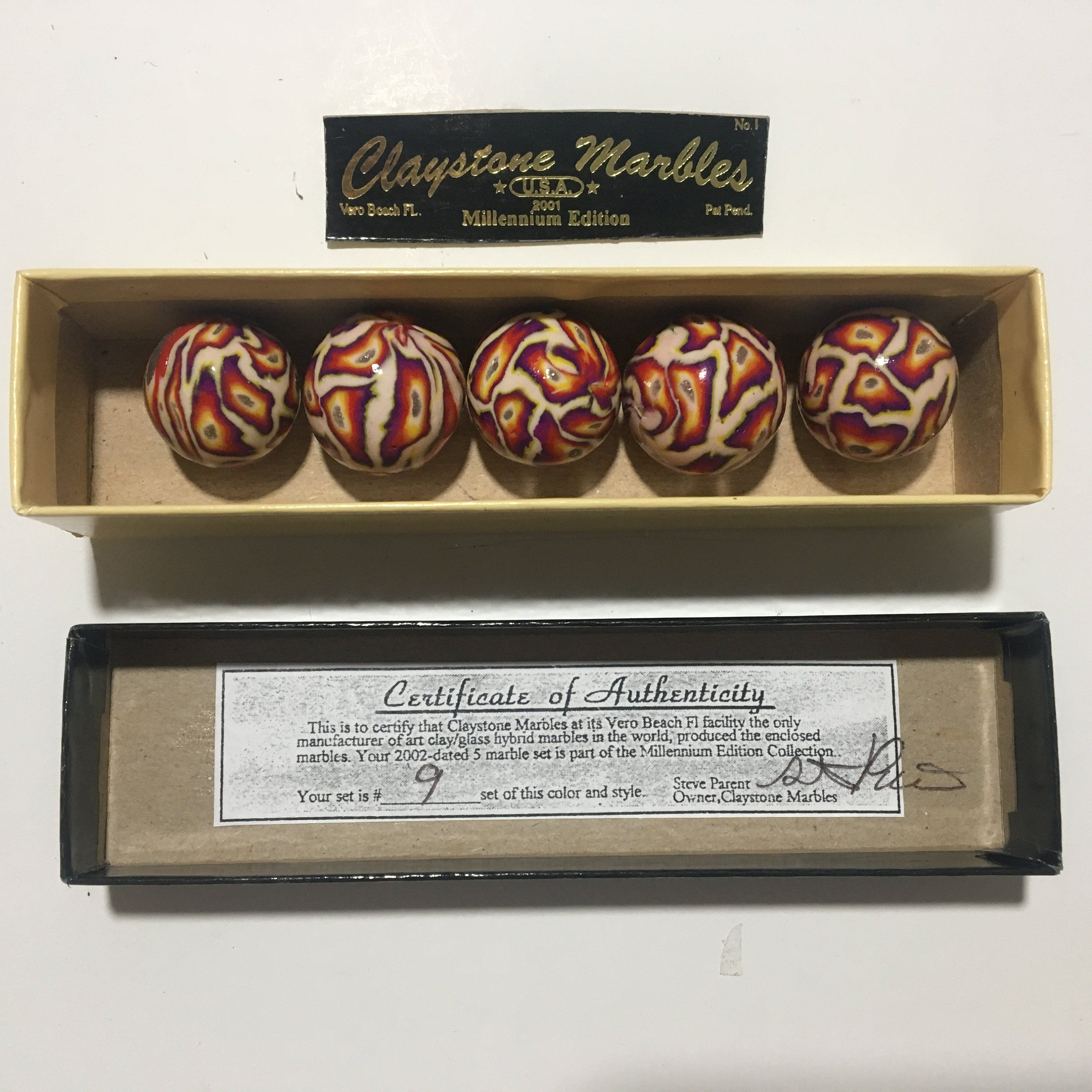 Handmade Collectible Marbles Original And Classic Box Set 9 One