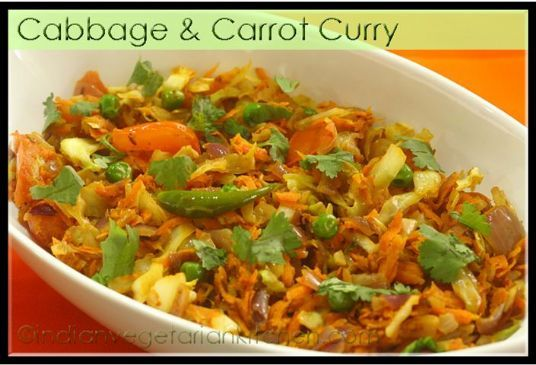 Cabbage & Carrot Curry - North Indian Style   Recipe in ...