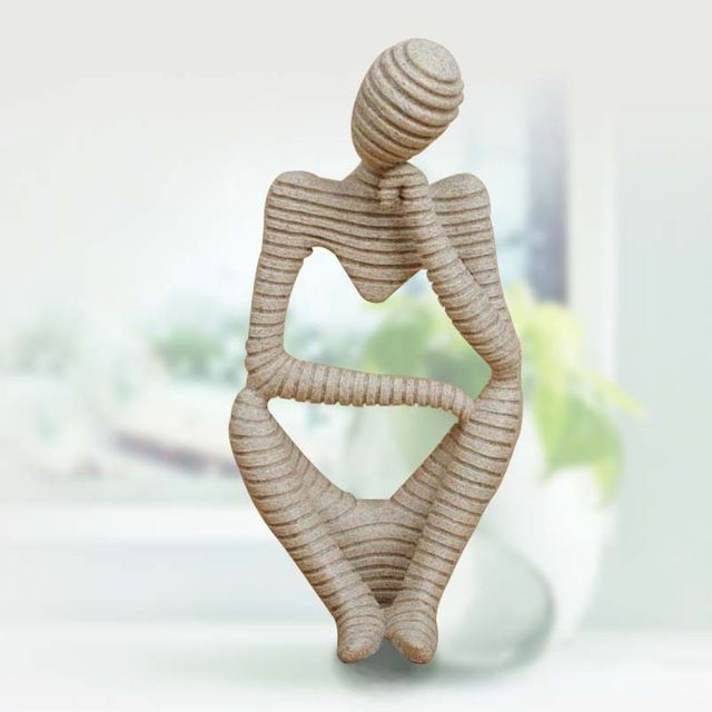 Nature Sandstone Stripes Abstract Thinker Figure Crafts Resin Technology Hand Carved Figurine European Style Home Decoration V 2020 G Glinyanye Skulptury Hudozhestvennye Skulptury Sadovye Skulptury