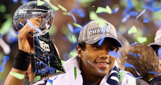 Lombardi Trophy Russell Wilson Seattle Seahawks Super Bowl Win