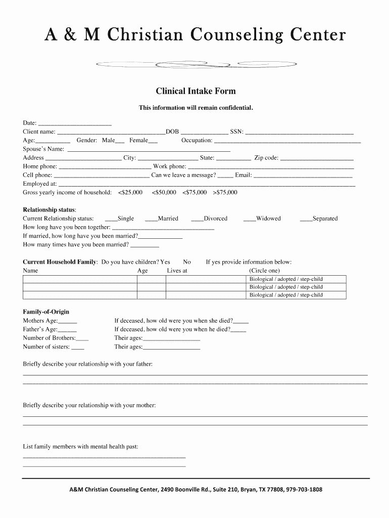 Medical Intake form Template Luxury Counseling Intake form