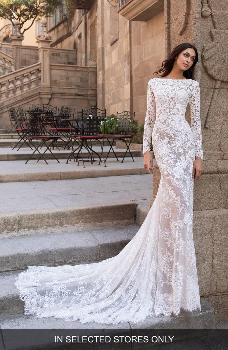 Pronovias Telesto Backless Long Sleeve Lace Sheath Wedding Dress ...