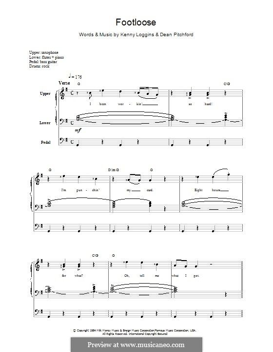 Footloose With Images Lyrics And Chords Kenny Loggins Sheet