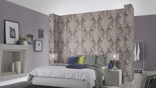 behangpapier medaillon taupe-paars Secrets in slaapkamer | Barok ...