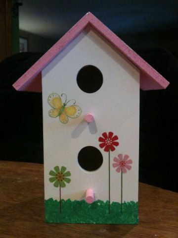 Hand Painted Birdhouse Pink Roof By Paintedladybirdhouse