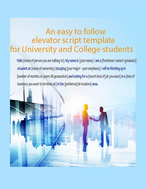 Elevator Pitch Template For University And College Students With No Experience