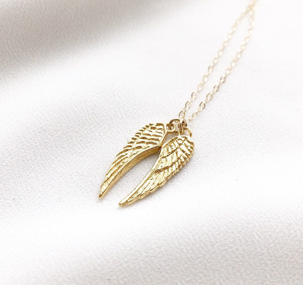 Angel Wings Necklace Rose Gold Or Gold Angel Wings Necklace Angel Wing Jewelry Memorial Necklace Angel Wings Jewelry Swarovski Jewelry Necklace Wing Jewelry