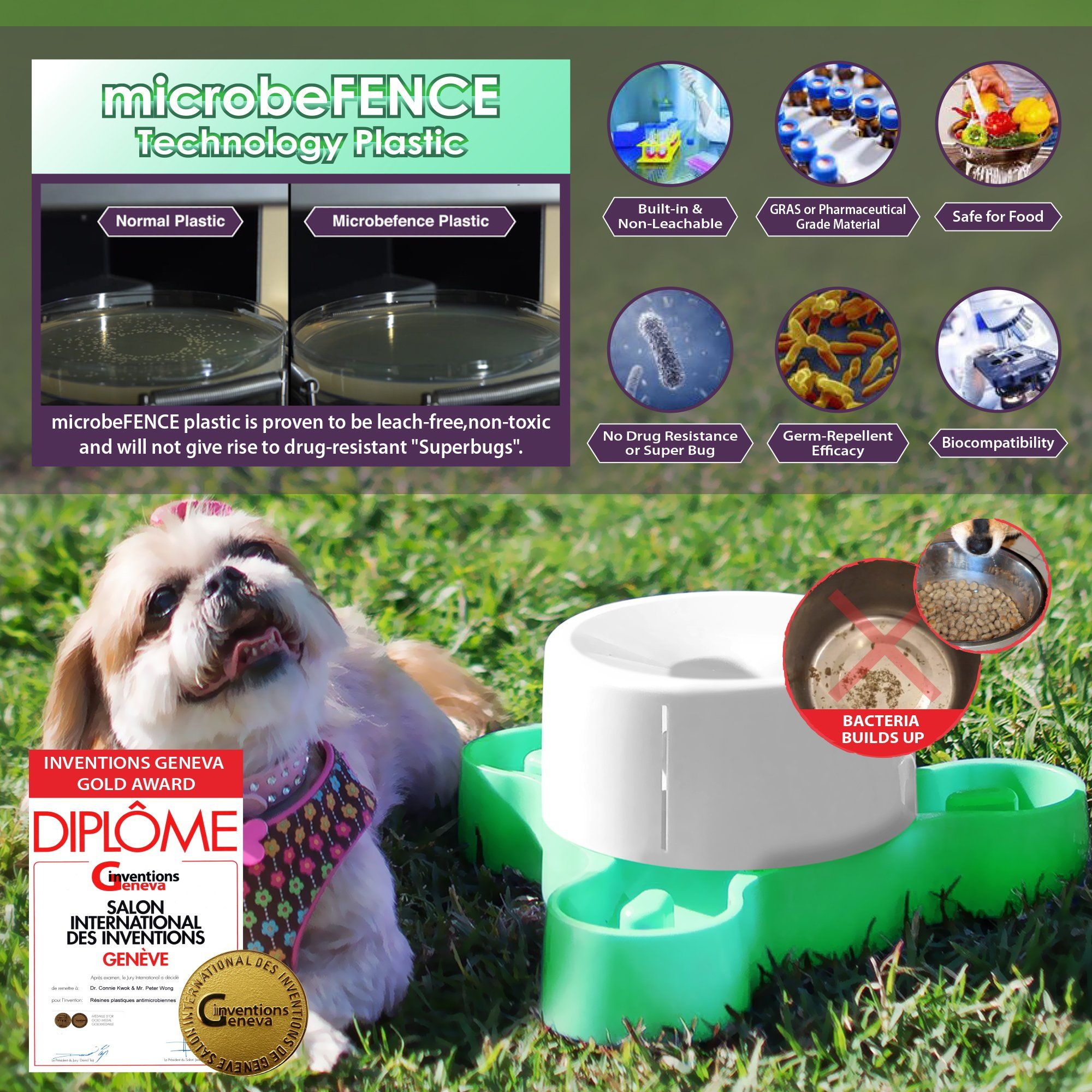 Microbefence Germ Repellent Tri Feeder Your Pet Dog Bowls