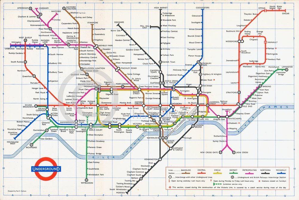 London Underground Subway Map.1965 London Underground Tube Subway Map Vintage Mid Century London Underground Map Underground Map London Underground Tube