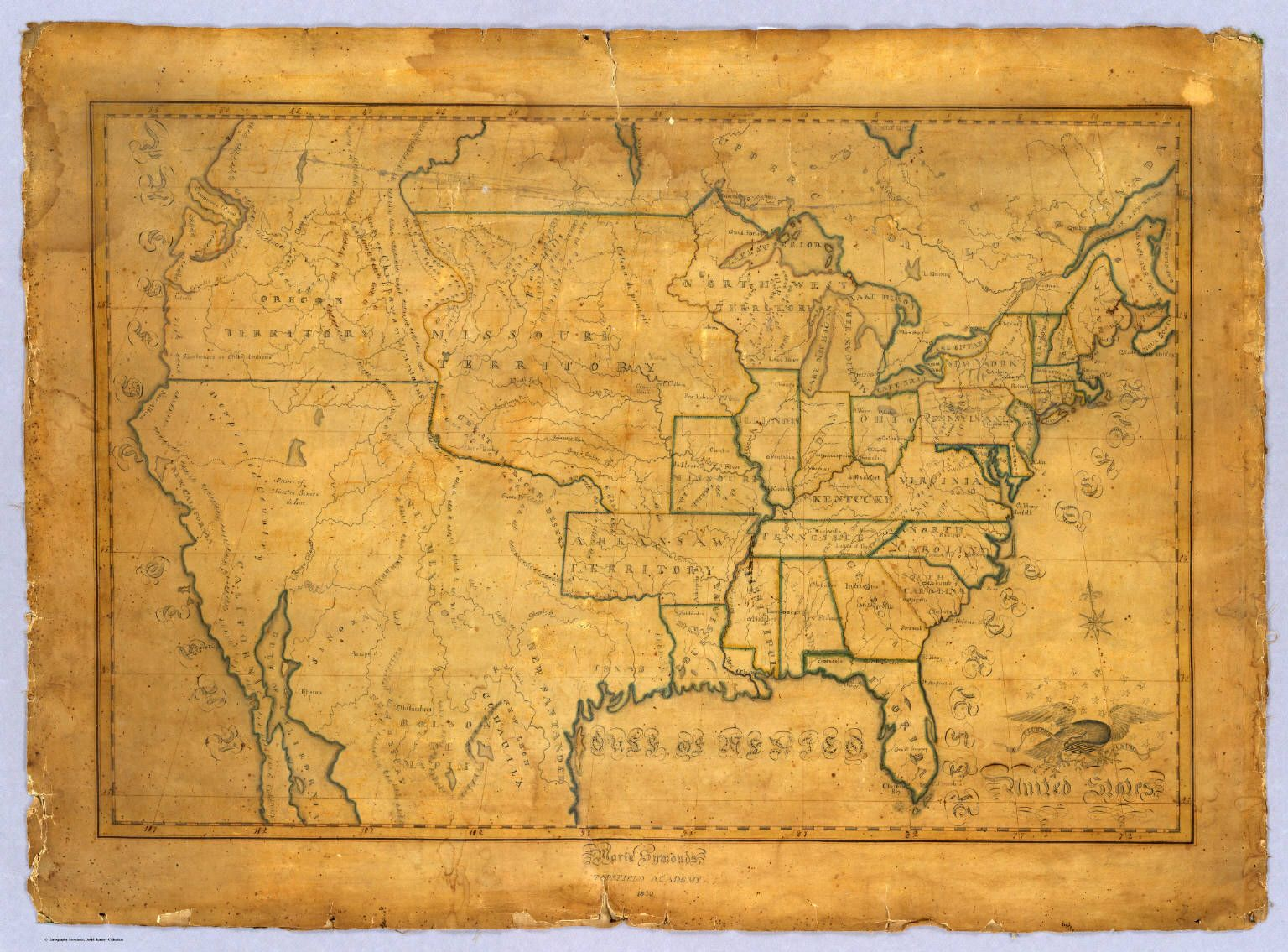Handdrawn Maps Made By Thcentury School Children School - Old map of the us