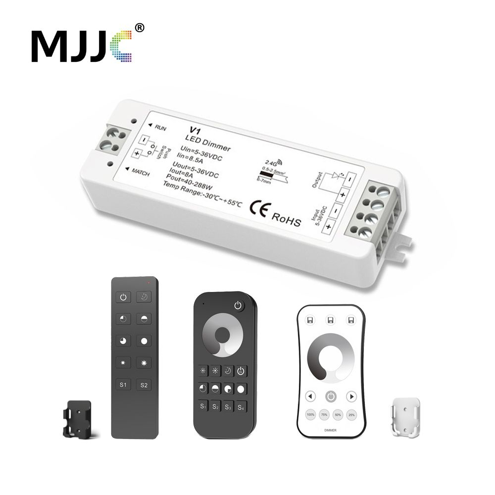 Mjjc Led Dimmer 12 V 5 V 24 V 36 V 8a Pwm Draadloze Rf Led Dimmer Op Off Met 2 4g Afstandsbediening Voor Enkele Led Dimmer Switch Led Dimmer Led Strip Lighting