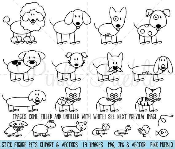 Strichmännchen Haustiere Clipart ClipArt Vektoren, Stick Familie Tiere Clip Art Clipart Vektoren - kommerziellen und persönlichen Gebrauch #animalsandpets