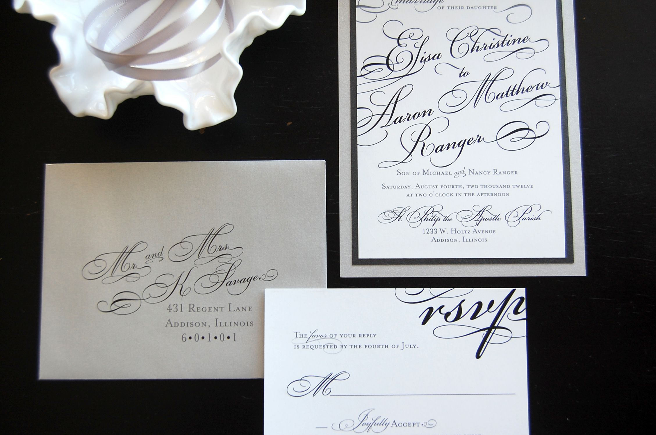 silver and black formal wedding invitation with lovely