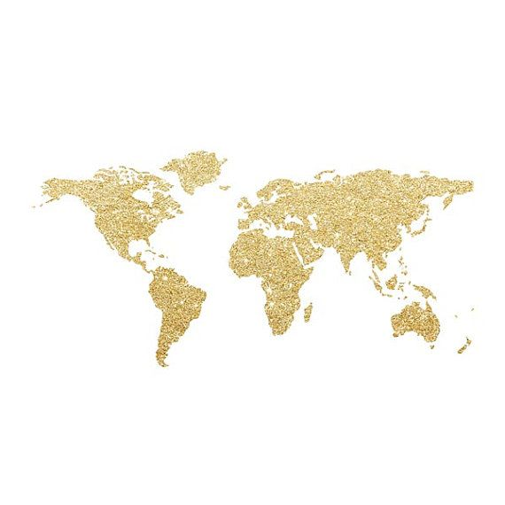 Desktop Wallpaper World Map: Printable Modern Vintage World Map Gold Glitter By