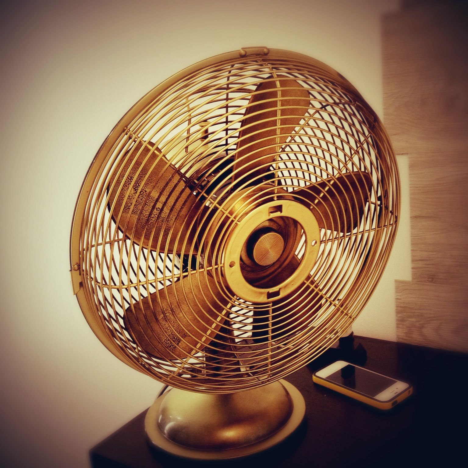 My first DIY fan. We found this black plastic 3D retro fan in San Juan. Actually, I've been looking for an old fan...  I removed the 3D logo then spray painted it with gold/bronze!