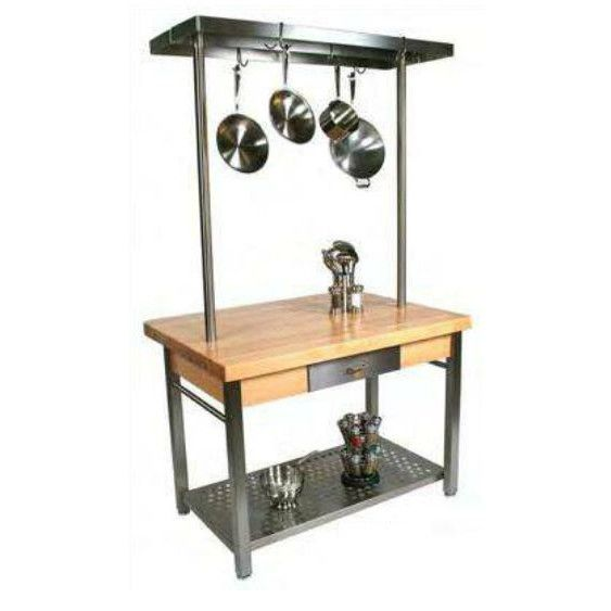 Stainless Steel Kitchen Prep Table With Butcher Block Top Kitchens - Stainless steel table with butcher block top