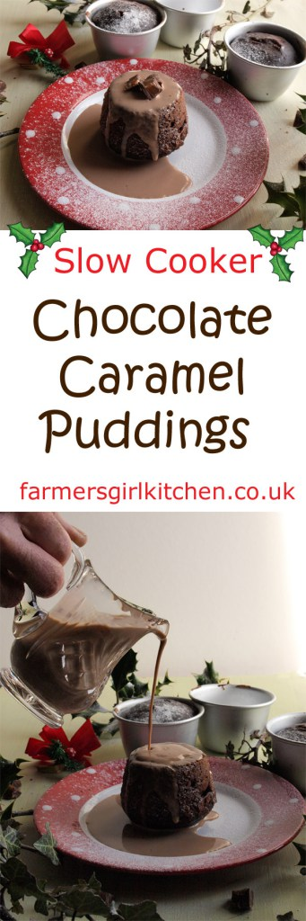 Slow Cooker Chocolate Caramel Puddings served with Chocolate Caramel Cream