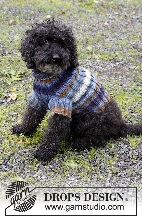 Paws & Stripes / DROPS 185-35 - Gestrickter Pullover mit ...