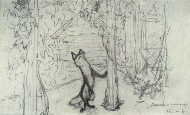 Лисица и виноград. Иллюстрация к басне И. А. Крылова ...
