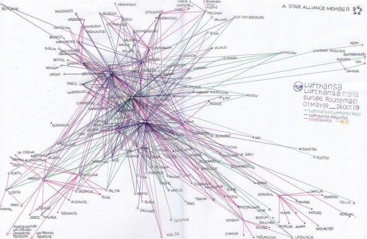 lufthansa european route map circa 2009 source news