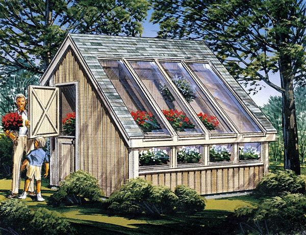 Garden shed greenhouse plan 85907 wood floor on gravel for Greenhouse skylights